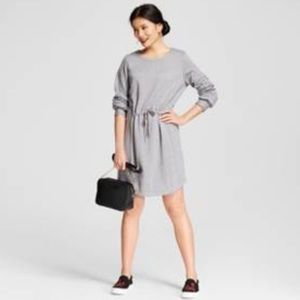 🆕 Fleece Tie Waste Sweatshirt Dress